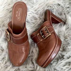Coach Candace Brown Leather Mules / Clogs 8.5B